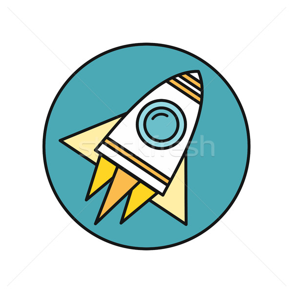 Spaceship Icon in Flat Stock photo © robuart