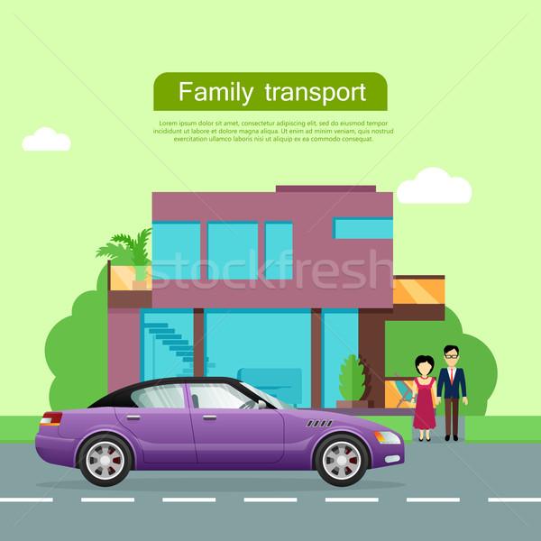 Rodziny transportu wektora internetowych banner para Zdjęcia stock © robuart