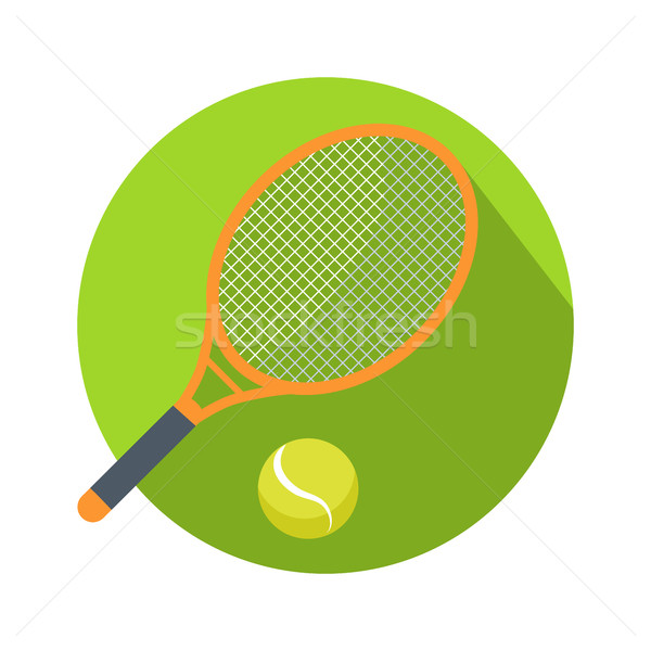 Racket and Ball Icon Logo for Tennis Web Button. Stock photo © robuart