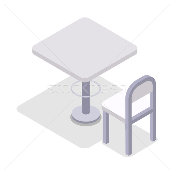 Stock photo: Dinner Table Chair Isolated, Isometric Furniture,