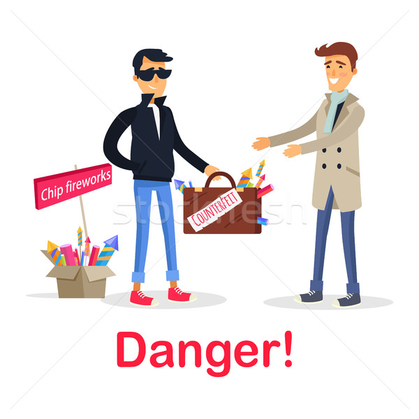 Process of Buying Counterfeit Case with Fireworks Stock photo © robuart