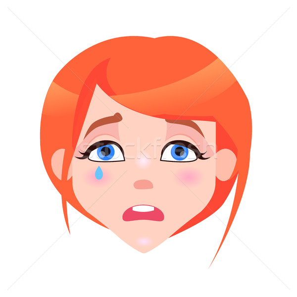 Woman Crying Face with Pink Cheeks and Tear Stock photo © robuart
