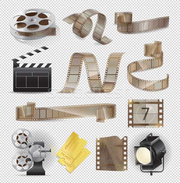 Movie Equipments Colourful Vector Collection. Stock photo © robuart