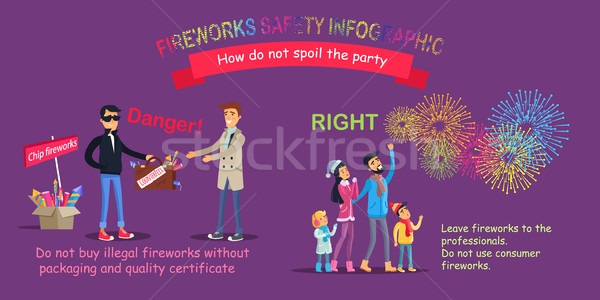 Fireworks Safety Infographic, Wrong Counterfeit Stock photo © robuart