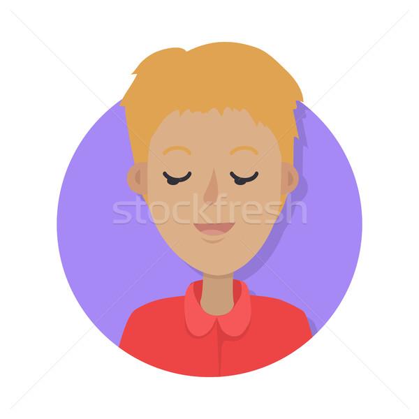 Adam yüz duygusal vektör simgesi stil ikon Stok fotoğraf © robuart