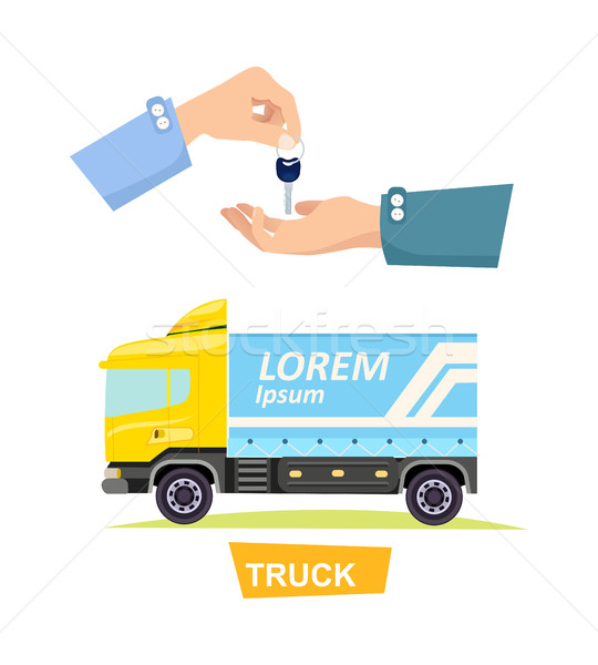 Hand Passing Key. Process of Buying, Renting Truck Stock photo © robuart