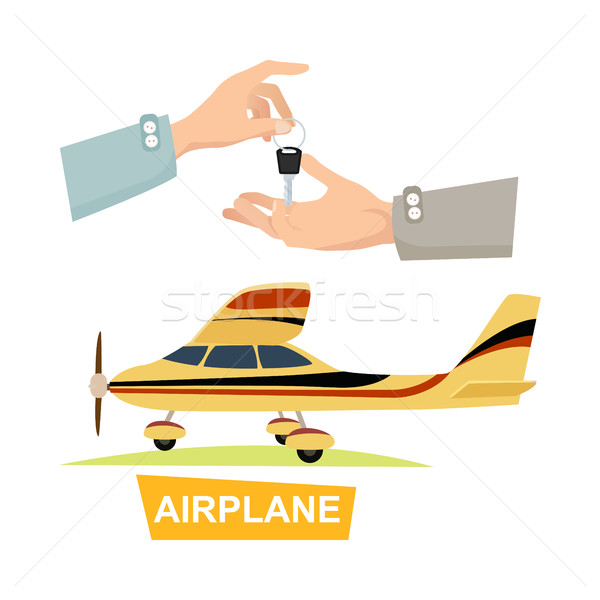 Hand Passing Key. Process of Buying Airplane. Stock photo © robuart