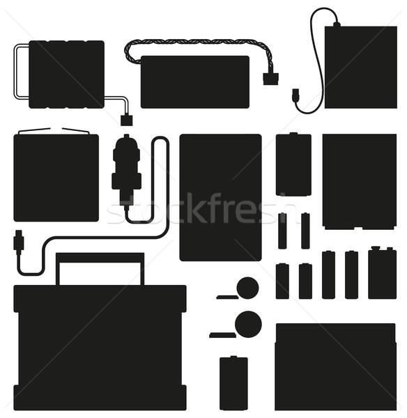 Krachtig batterijen silhouetten geïsoleerd witte zwarte Stockfoto © robuart