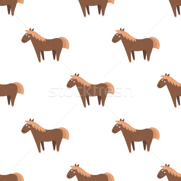 Cartoon Horse Seamless Pattern on White Vector Stock photo © robuart