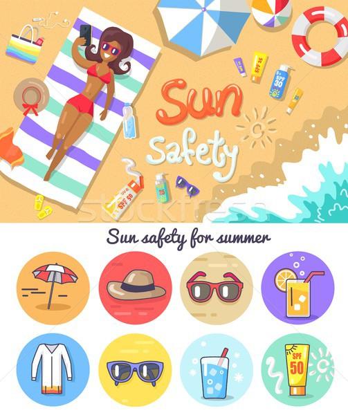 солнце безопасности лет Элементы набор женщину Сток-фото © robuart