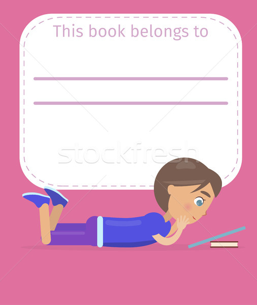 Place for Book Owner Name with Boy Illustration Stock photo © robuart