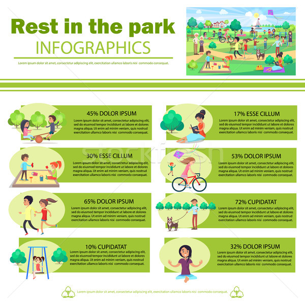 Rest in Park Infographics Poster with Pictures Stock photo © robuart
