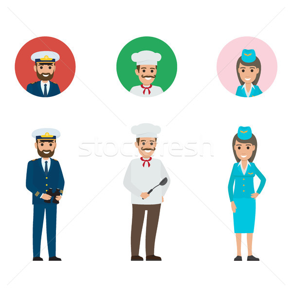 Stock photo: Concept of Captain, Chief-cooker and Stewardess