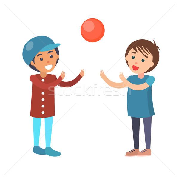 Chłopców grać siatkówka odizolowany ilustracja chłopca Zdjęcia stock © robuart