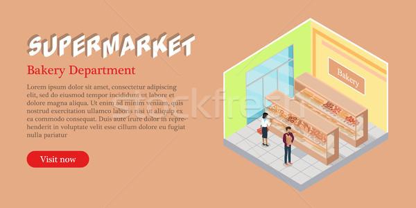 Supermarket Bakery Department Isometric Web Banner Stock photo © robuart
