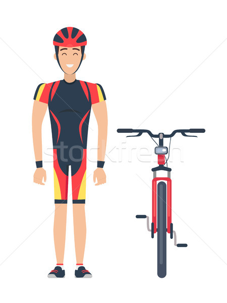 Isolated Icons of Bicycle and Cyclist on White Stock photo © robuart