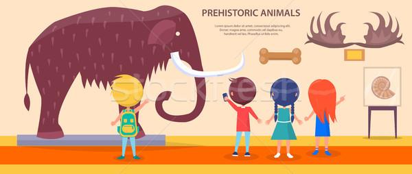 Prehistoric Animals Exhibition with Huge Mammoth Stock photo © robuart