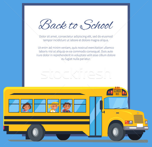 Back to School Poster with School Bus and Kids Stock photo © robuart