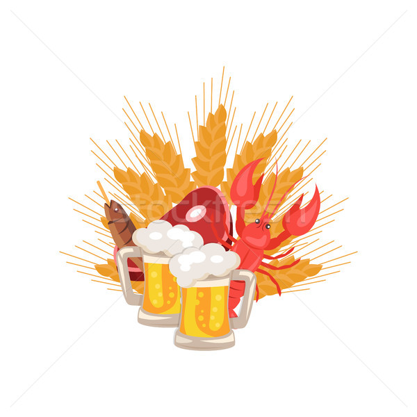 Beer and Snacks at Octoberfest Vector Illustration Stock photo © robuart