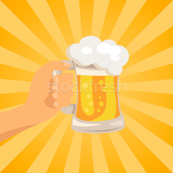 Hand with Traditional Glass of Beer with Foam Stock photo © robuart