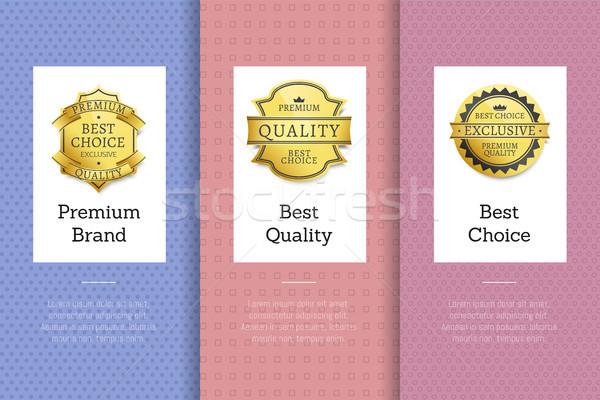 Stockfoto: Premie · merk · best · kwaliteit · keuze · gouden