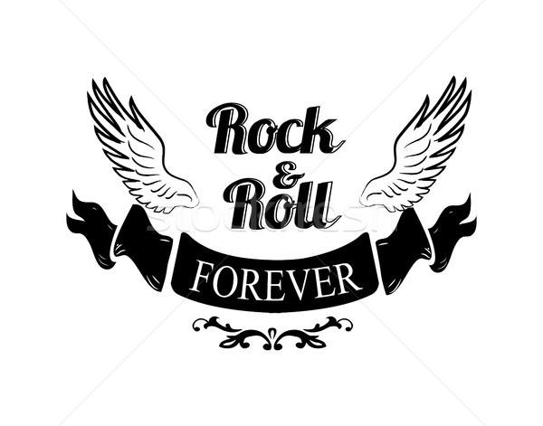 Rocha rolar para sempre asas título escrito Foto stock © robuart