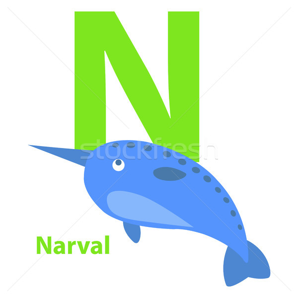 Lime Green Letter N Narval on Kid Education Card Stock photo © robuart