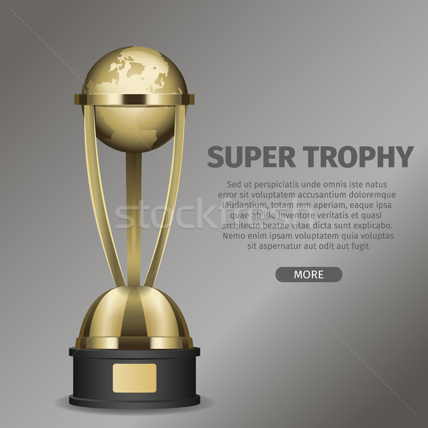 Golden Super Trophy Cup with Framed Planet Earth Stock photo © robuart