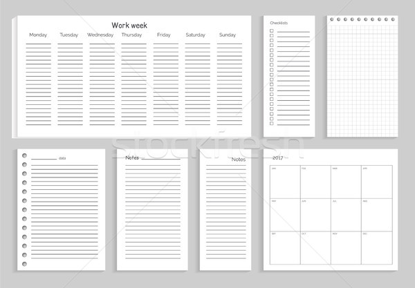 Set of Notes Work Week on Vector Illustration Stock photo © robuart