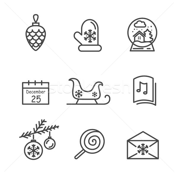 Christmas Icons Colorless Vector Illustration Stock photo © robuart