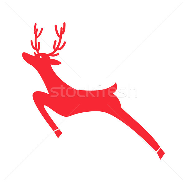 Running Red Reindeer Icon Vector Illustration Stock photo © robuart