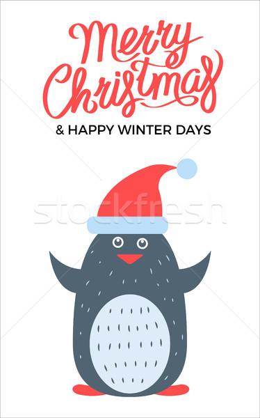 Merry Christmas Penguin on Vector Illustration Stock photo © robuart