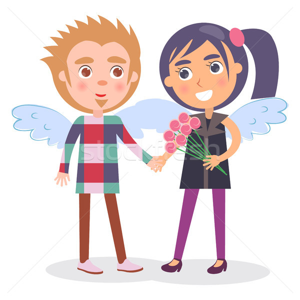 First Date Teenage Couple in Angel Wings, Boy Girl Stock photo © robuart