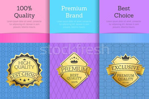 Stock photo: Quality Premium Brand Best Choice Set Golden Label