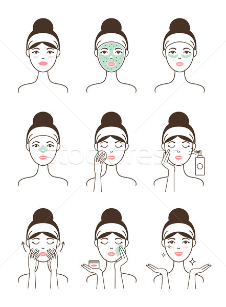 Skin Care Procedure All Stages on Female Model Stock photo © robuart