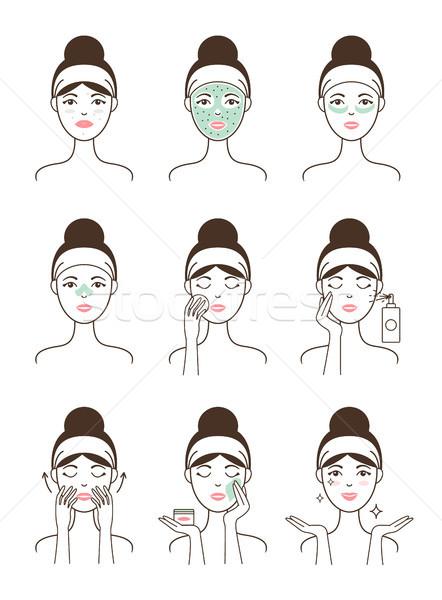 Bőrápolás eljárás összes női modell arc Stock fotó © robuart