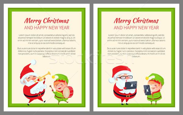 Сток-фото: веселый · Рождества · с · Новым · годом · два · ярко · Баннеры