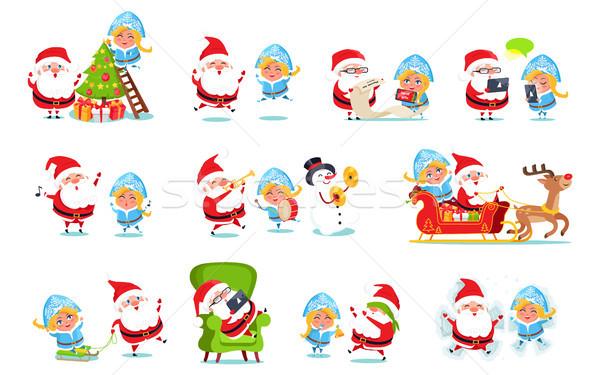 Santa and Snow Maiden Life Vector Illustration Stock photo © robuart
