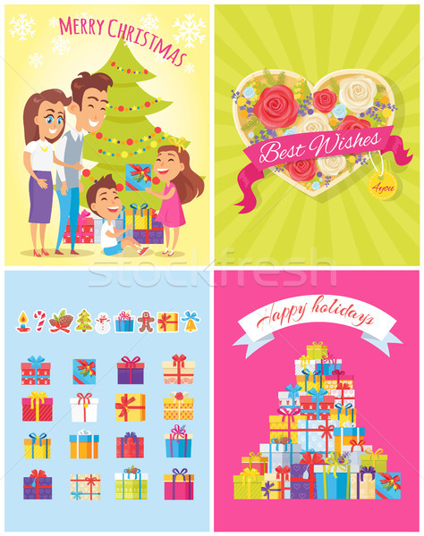 Merry Christmas Best Wishes Vector Illustration Stock photo © robuart