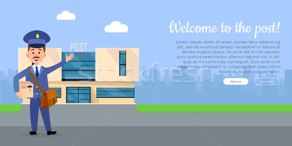 Welcome to the Post Vector Web Banner with Postman Stock photo © robuart
