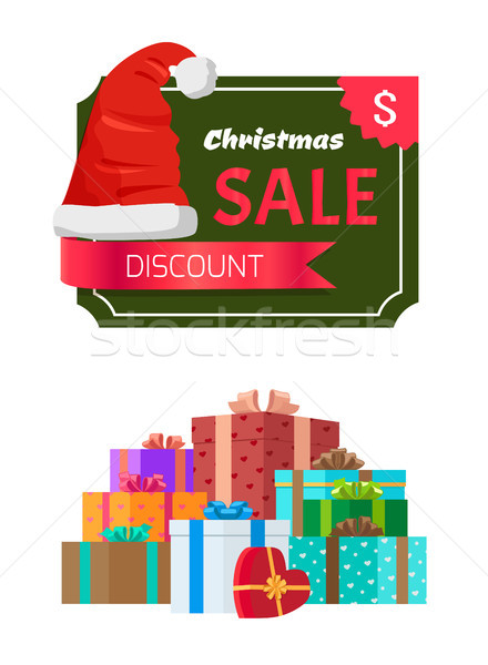 Korting christmas verkoop promo sticker hoed Stockfoto © robuart