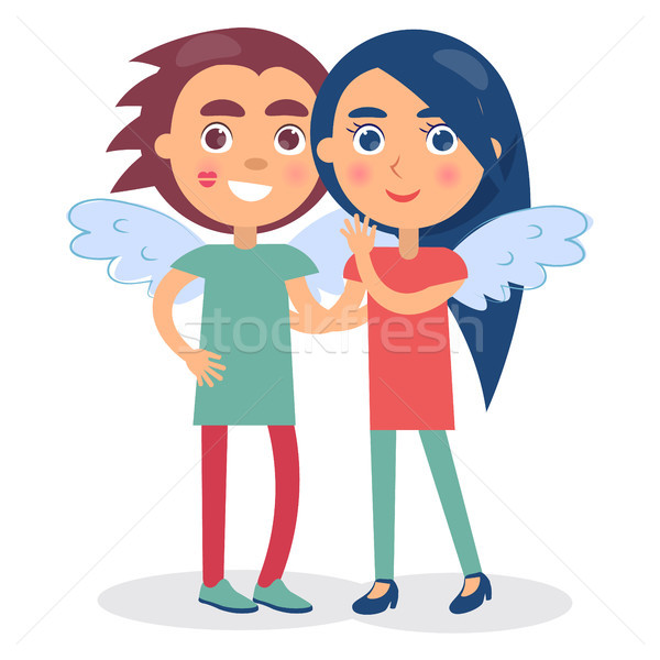 Flirting Couple Smiling Hold Hands, Boy and Girl Stock photo © robuart