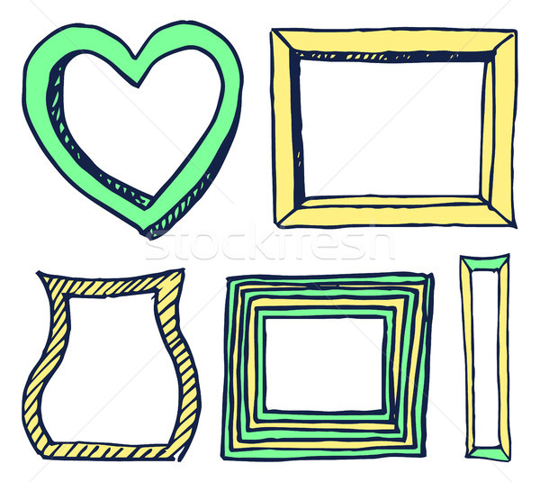 Five Colorful Frames Pictures Vector Illustration Stock photo © robuart