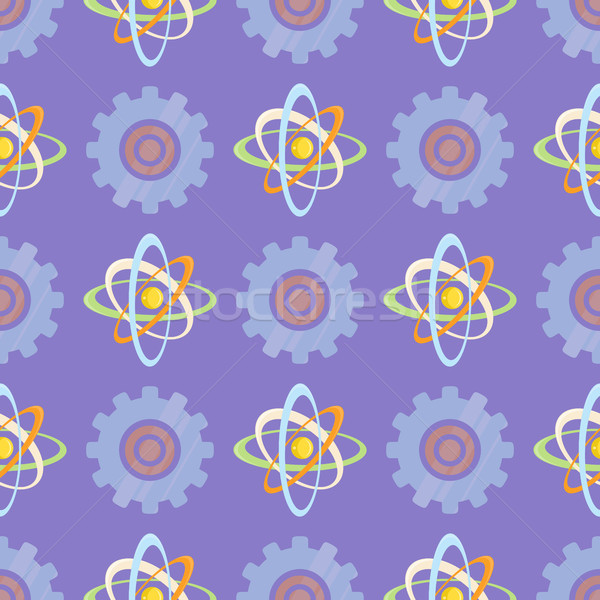 Seamless Pattern with Science Themed Atomic Model Stock photo © robuart