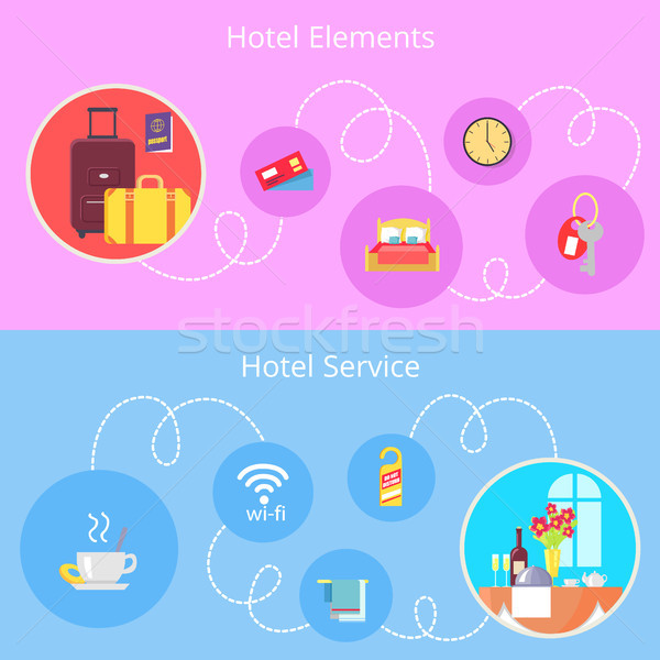 Stock photo: Hotel Elements and Services Vector Flat Poster
