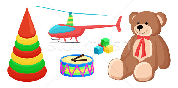 Teddy Bear and Copter Toys Vector Illustration Stock photo © robuart