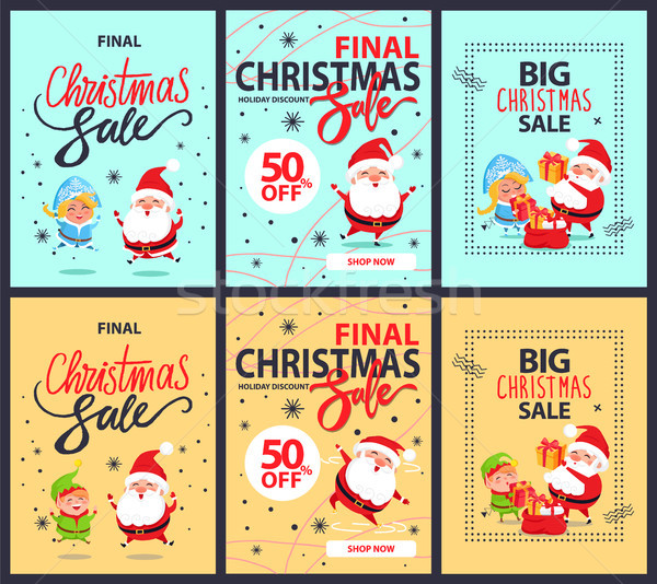 Set of Posters Final Christmas Sale Discounts 50  Stock photo © robuart