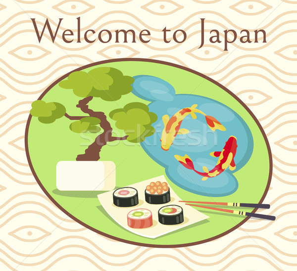 Welcome to Japan Promotional Poster with Sushi Stock photo © robuart