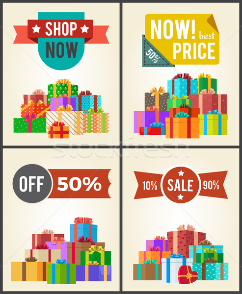 Shop Now Best Hot Price Promo Labels Ribbons Stars Stock photo © robuart