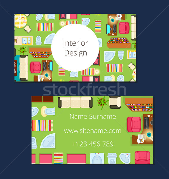 Interior Design Business Card Vector Illustration Stock photo © robuart